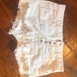 Free People Cream Cut Off Shorts M